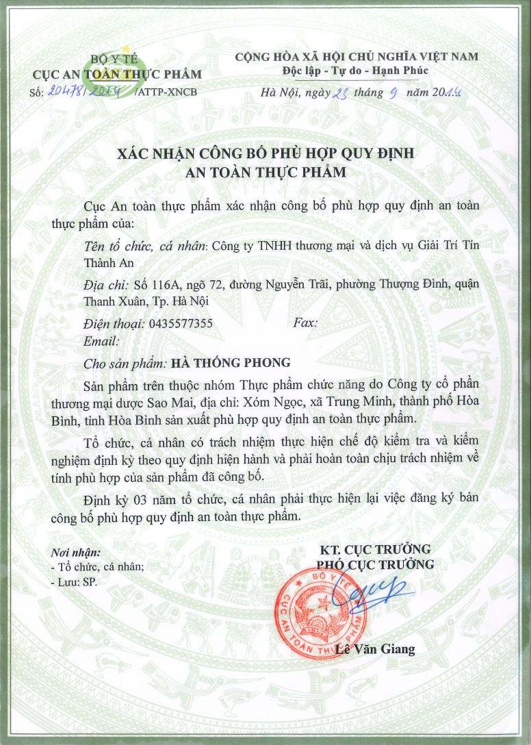 giấy xác nhận của bộ ATTP